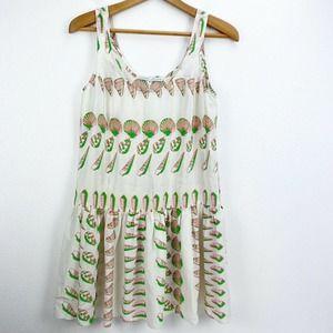 Amanda Uprichard Neon Shell Print Silk Mini Dress